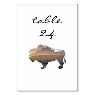 Wedding Table Number Rustic Western Bison