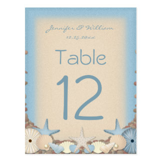 Wedding Table Number Tropical Beach Shells Post Cards
