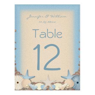 Wedding Table Number Tropical Beach Shells Postcard