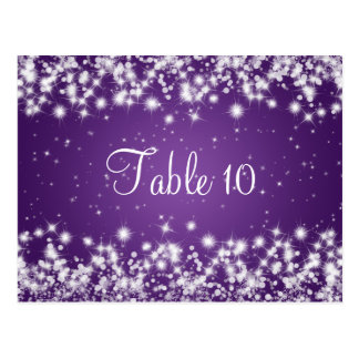 Wedding Table Number Winter Sparkle Purple Postcard