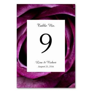 Wedding Table Numbers Card Purple Rose Table Card