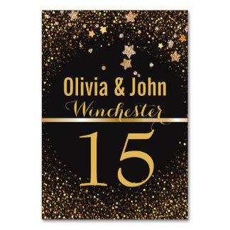 Wedding Table Numbers | Elegant Gold Glitter Stars