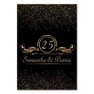 Wedding Table Numbers | Glam Gold Confetti Dots