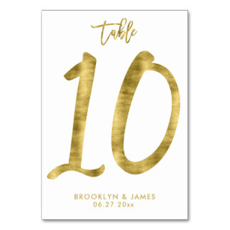 Wedding Table Numbers Gold Foil Effect Number 10