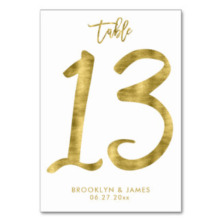 Wedding Table Numbers Gold Foil Effect Number 13 Table Cards