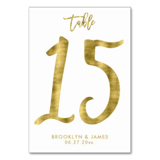 Wedding Table Numbers Gold Foil Effect Number 15