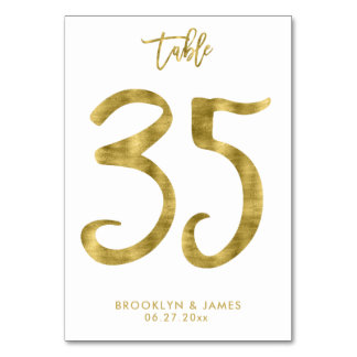 Wedding Table Numbers Gold Foil Effect Number 35