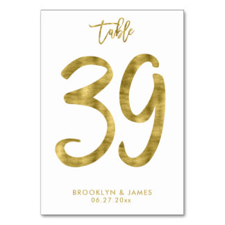 Wedding Table Numbers Gold Foil Effect Number 39