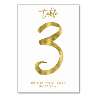Wedding Table Numbers Gold Foil Effect Number 3 Table Card