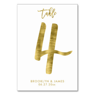 Wedding Table Numbers Gold Foil Effect Number 4