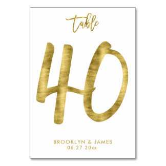 Wedding Table Numbers Gold Foil Effect Number 40