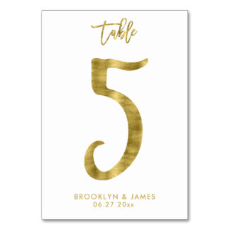 Wedding Table Numbers Gold Foil Effect Number 5 Table Cards