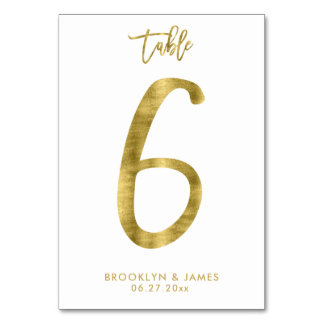 Wedding Table Numbers Gold Foil Effect Number 6 Table Cards