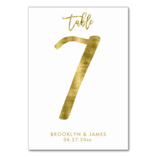 Wedding Table Numbers Gold Foil Effect Number 7 Table Cards