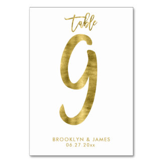 Wedding Table Numbers Gold Foil Effect Number 9