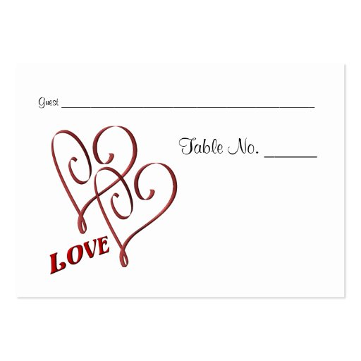 Wedding Table Place Cards Love Two Hearts Business Card Templates