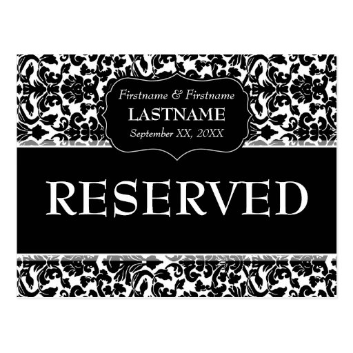 Wedding Table RESERVED Sign Damask Pattern Post Cards