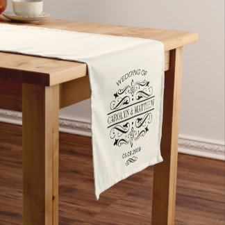 Wedding Table Runner | Black Monogram
