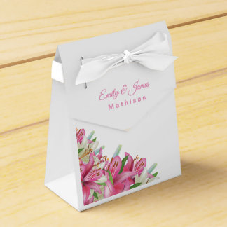 Wedding Temple Wedding Favor Boxes-Pink Lilies Favour Box