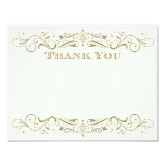 Wedding Thank You Card   Antique Gold Flourish 11 Cm X 14 Cm Invitation Card
