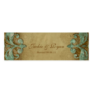 Wedding Thank You Card Bookmark Favor Verdigris Pack Of Skinny Business Cards