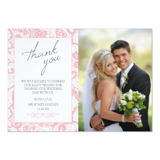 Wedding Thank You Card , Pink Lace Flat Card