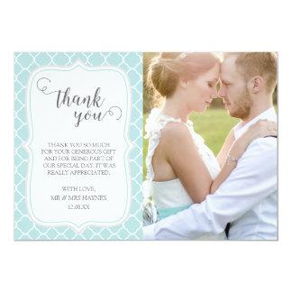 Wedding Thank You Card , Quatrefoil Design
