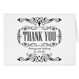wedding thank you cards black and white