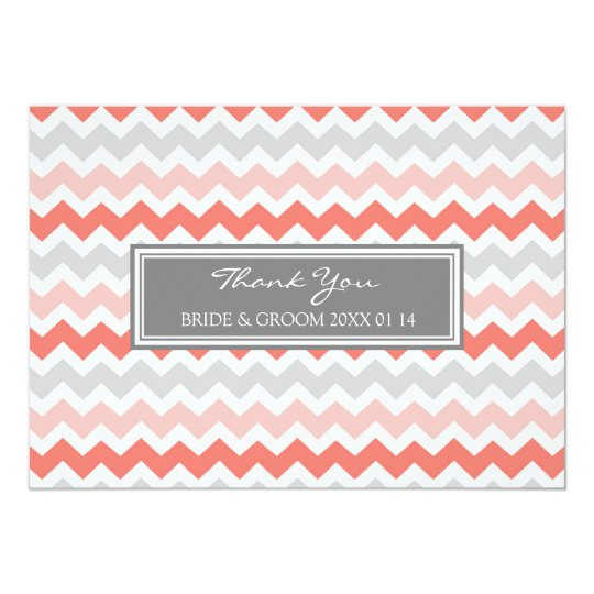 Wedding Thank You Cards Coral Grey Chevron
