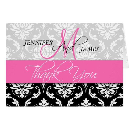 Wedding Thank You Cards Damask Monogram Hot Pink