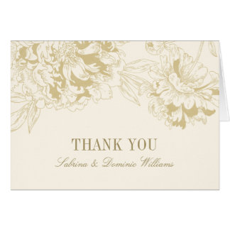 Wedding Thank You Cards | Gold Floral Peony