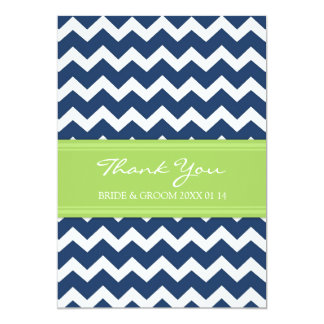 Wedding Thank You Cards Lime Blue Chevron
