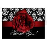 Wedding Thank You Cards Red Rose Damask