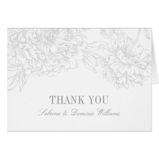 Wedding Thank You Cards | Silver Floral Peony