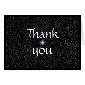 Wedding Thank you cards, silver stars on black Greeting Card