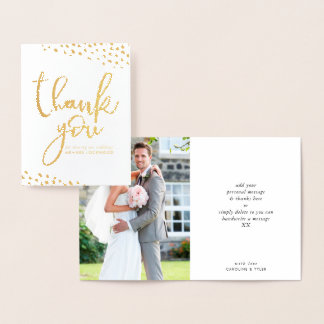 WEDDING THANK YOU couple photo paint dabs script Foil Card