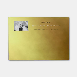 Wedding Thank You Favor Gold Minimal Ombre Post-it Notes