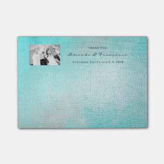 Wedding Thank You Favor Gold Minimal Turquoise Post-it Notes