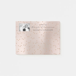 Wedding Thank You Favor Photo Blush Pink Swarovski Post-it Notes