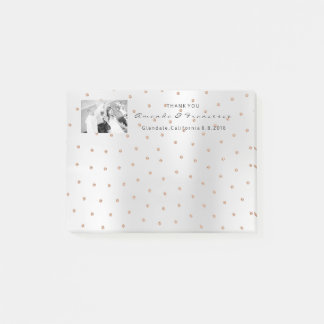Wedding Thank You Favor Photo Rose Gold Swarovski Post-it Notes