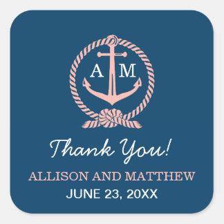 Wedding Thank You Favor Sticker | Blush Nautical
