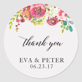 Wedding Thank You Favor Sticker Floral Watercolor