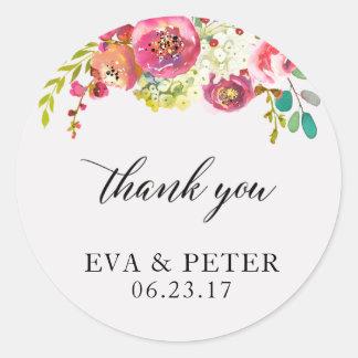 Wedding Thank You Favor Sticker Floral Watercolor