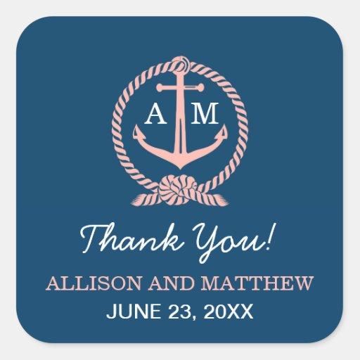 Wedding Thank You Favor Sticker | Nautical Theme