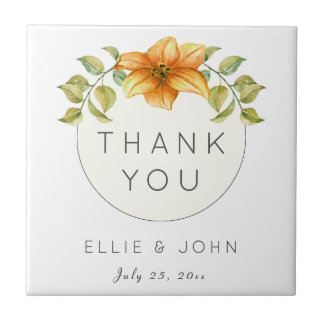 Wedding Thank You Favor Watercolor Star Flower Ceramic Tile