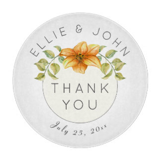 Wedding Thank You Favor Watercolor Star Flower Cutting Board
