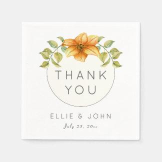 Wedding Thank You Favor Watercolor Star Flower Disposable Serviettes