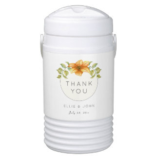 Wedding Thank You Favor Watercolor Star Flower Drinks Cooler