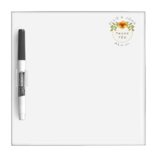 Wedding Thank You Favor Watercolor Star Flower Dry Erase Board