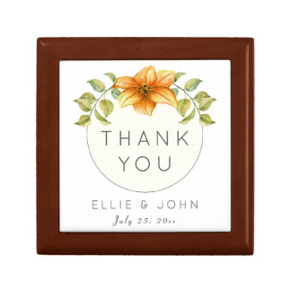 Wedding Thank You Favor Watercolor Star Flower Gift Box